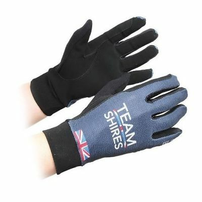 SHIRES TEAM gloves ADULTS NAVY horse rider breathable stretch gloves unisex