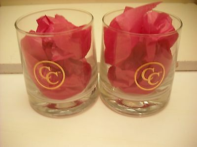 Set of 2 CANADIAN CLUB Whiskey Rock Glasses with Gold Logo CC*NEW & UNUSED