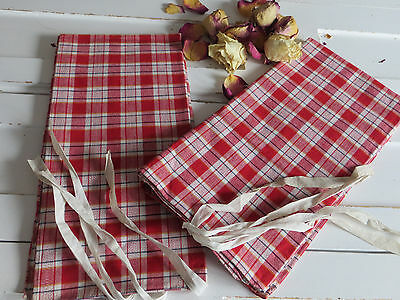 """Unused German Pair Pillowcases Euro Shams Checked Linen 30 """" by 29 """"   ANTIQUE"""
