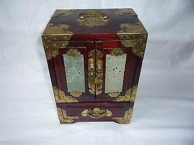 Vintage Chinese Wooden Carved Jade Brass Jewellery Box with Silk Interior