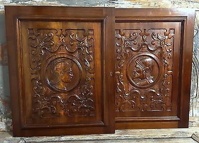 Pair Walnut Panel Antique French Hand Carved Wood Gothic Warrior Interior Decor