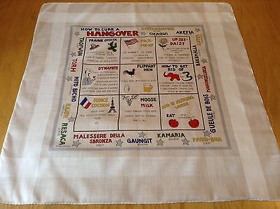 RARE VINTAGE HANKIE TO USE OR FRAME.  HOW TO CURE A HANGOVER!  VGC.  20 x 19 INC