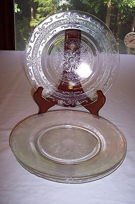 Set of 4 MacBeth-Evans Clear Stippled Rose Band Luncheon Plates