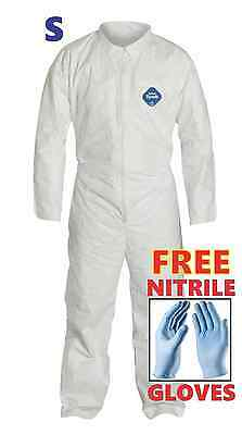 S Tyvek Protective Coveralls Suit Hazmat Clean-Up Chemical FREE Nitrile Gloves