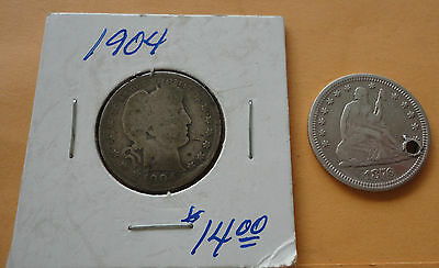1904 Barber Quarter and 1876 Seated Liberty Quarter (pierced/hole) - 90% silver
