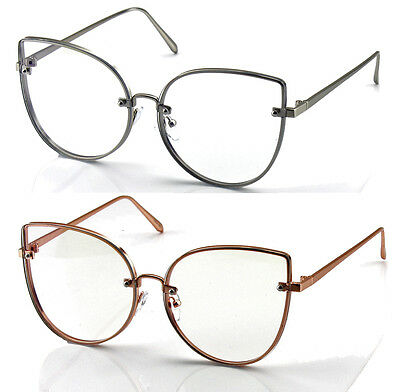 Womens Large Oversized Cat Eye Retro Vintage Clear Lens Glasses Fashion Eyewear
