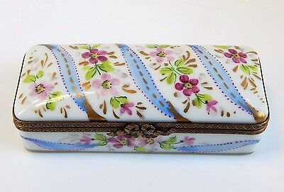 Limoges Hand Painted Hinged Box - Long Two Compartment Stamp Case, Floral & Blue