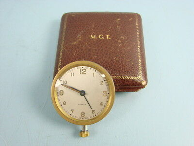 Vintage Swiss Made 8 Day Wind Up Travel Alarm Clock Watch Cognac Leather Band