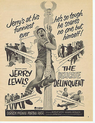 Jerry Lewis THE DELICATE DELINQUENT Movie Print Ad Vintage Advertisement