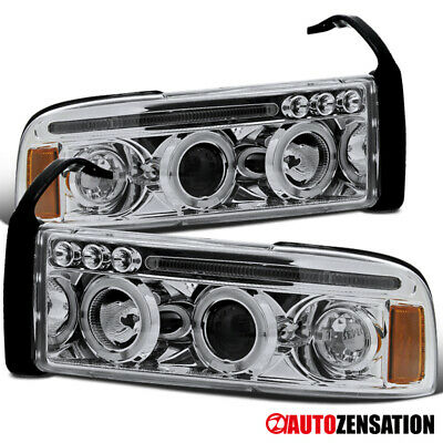 For 1994-2001 1500 Dodge Ram Clear LED Dual Halo Rims Projector Headlights Lamps