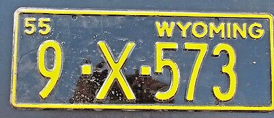 "1955 Wyoming Trailer License Plate "" 9 X 573 "" All Original Wy 55  Trl Low No"