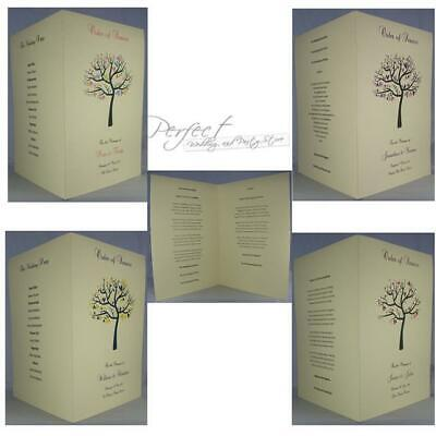 Personalised Ivory A5 Wedding Order Of Service Booklet Tree Design 17 Colours