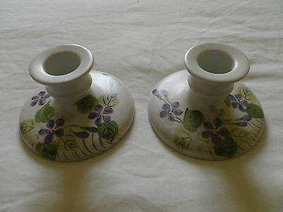 Edward Radford Pottery England Hand Painted Pair Of Candlesticks.