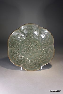 Chinese Celadon Song Style Petal Bowl Moulded Decoration