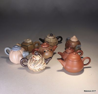 Vintage Chinese Miniature Yixing Tea Pots & Covers LOT of 8