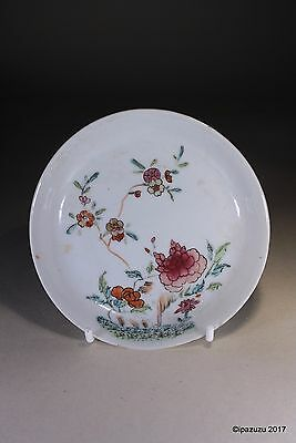 Antique Chinese Flowers & Foliage Saucer Circa 1800