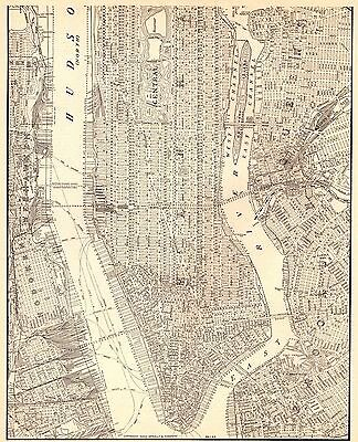 1938 Antique MANHATTAN MAP Vintage New York City Map Black and White 3972