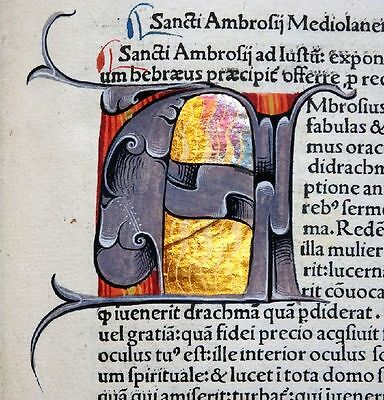 Complete Incunable Ambrosius Opera Master Binding Book Painting Amerbach 1492