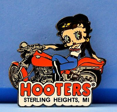 New Hooters Betty Boop Girl On Motorcycle Bike Lapel Pin - Sterling Heights, Mi