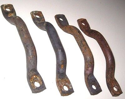 Lot of 4 OLD Vintage Industrial Cabinet Desk Drawer Rustic Steel Pull Handles