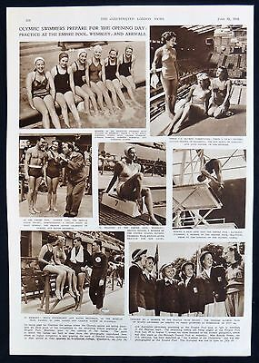 1948 Summer Olympic Games Diving & Swimming Teams Photo Article 1948