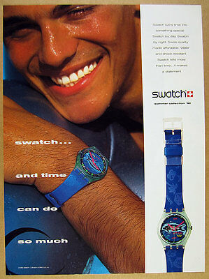 1992 Swatch FRISCHE FISCHE Watch blue fish dial photo vintage print Ad