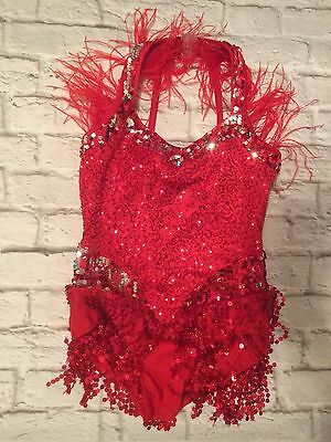 Curtain Call Competition Recital Jazz Red Sequin Feathers Dance Costume Child XL