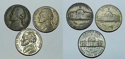 U.S.A. : 3 X JEFFERSON NICKELS - War Time