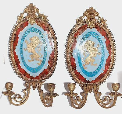 Beautiful antique pair french sconces porcelain bronze mount 16 inches tall