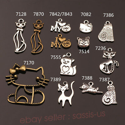 10/100 Pieces Cat Cute Charms Tibetan Silver DIY Jewelry Charm Bead Linker A Top