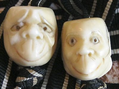 Noh Antique Japanese Meiji Period Ojime Inro Netsuke Carved Theater Mask Beads