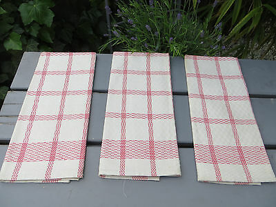 """Unused Set Of Three  ( 3)  White Checkerboard Linen Towels Red Stripes 22""""by24"""""""