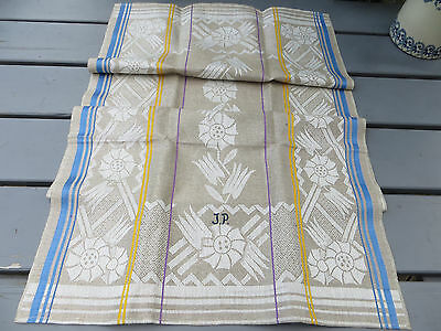 "Unused Art Deco Towel Runner Flowers Stripes Monogram JP 41 "" Long RARE !!"