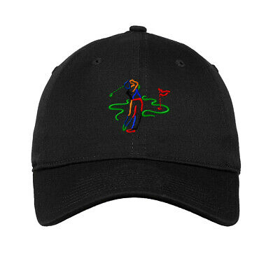 Man Golf Silhouette Embroidered Soft Low Profile Hat