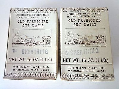 """2 boxes 1lb ea Tremont Nail Co. Old-Fashioned Cut Nails 6d Sheathing 2"""""""