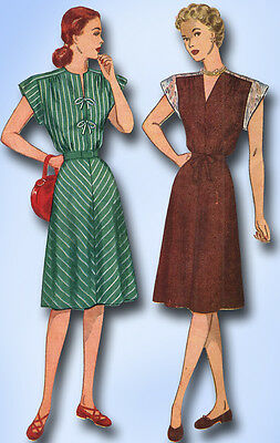 1940s Vintage Simplicity Sewing Pattern 1541 Uncut Misses Day Dress Size 12 30B