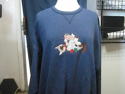Christmas Siamese Playing With His Toys Machine Embroidered Sweatshirt