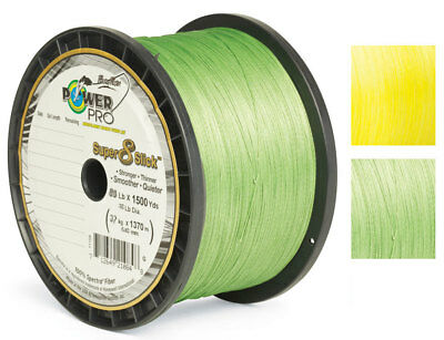 Bulk Power Pro Super 8 Slick Braid 1500yds in Aqua Green, Hi Vis Yellow