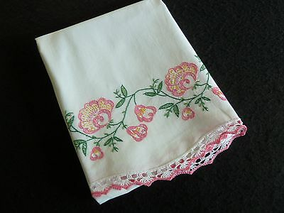 """Single Vintage Hand Embroidered PILLOWCASE 29x21"""" Exc Condition"""