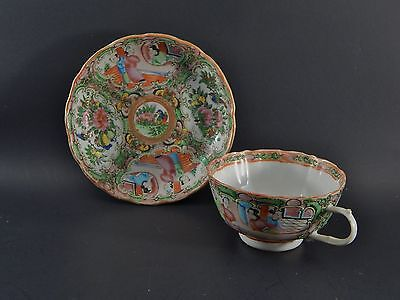 Antique Chinese Export Porcelain Rose Medallion Cup Saucer Set with Butterflies