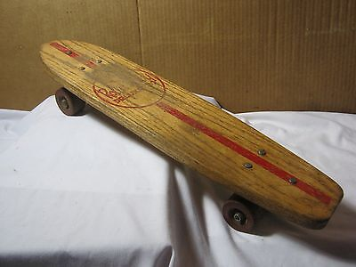 "1960's Vintage Roller Derby #20 Wood Skateboard Original Clay Wheels 22""   T*"