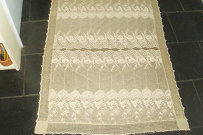 Vintage Beige Lace & Netting Beaded Crochet Edge Food Cover/Table Cloth/Runner