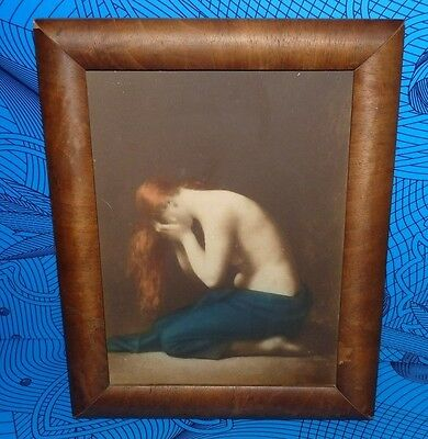 Scarce! Antique 1911 Taber Prang Art Co. Weeping Mary Magdalene Print Litho