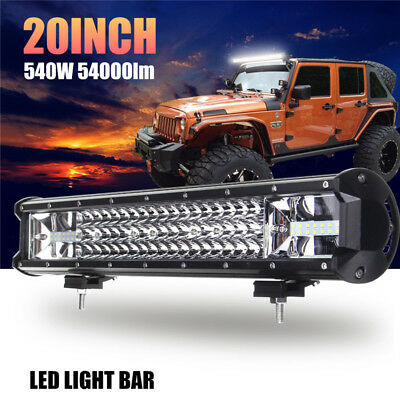 "20"" Inch 540W LED Work Light Bar Flood Spot Combo Offroad Driving Lamp Car Truck"