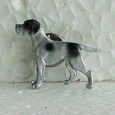 English Pointer Black White Lapel Pin Dog Breed Jewellery Handpainted Metal