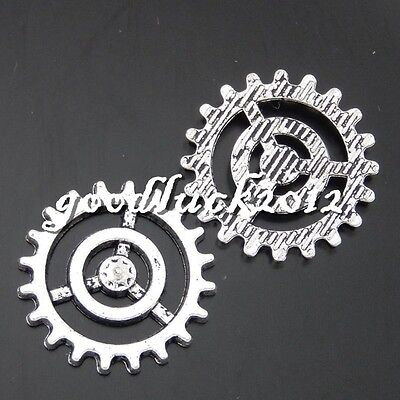 50480 Antique Silver Alloy Gear Wheel Shape Pendants Charms Crafts Findings 37x
