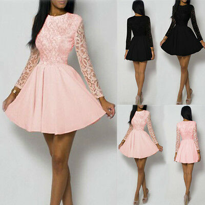UK Womens Lace Party Cocktail Mini Ladies Long Sleeve Bridesmaid Skater Dress