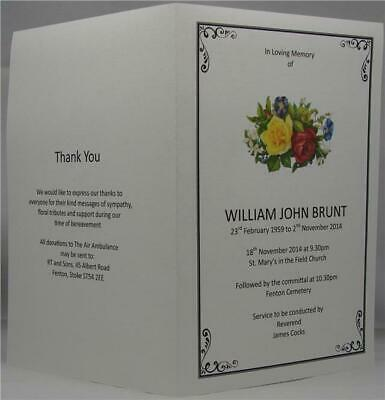 Personalised White Or Ivory A5 Funeral Memorial Order Of Service Roses Design