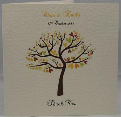 Ivory Wedding Personalised Thank You Gift Side Fold Cards Love Bird Tree Design