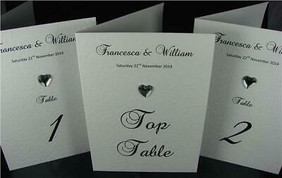 Personalised White Or Ivory Wedding Party Table Number Name Cards Diamante
